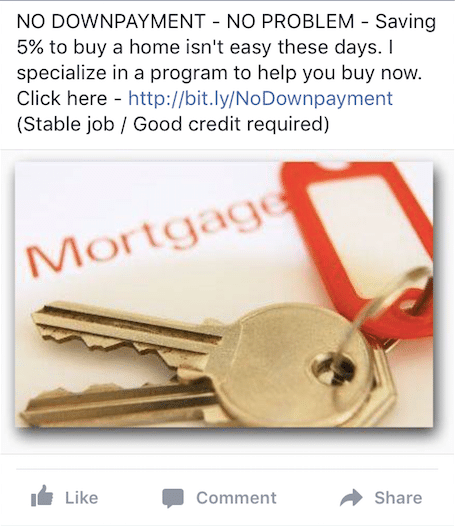 No downpayment ad