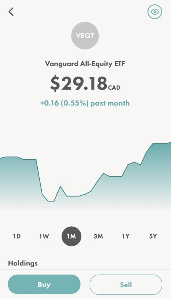 Wealthsimple Trade buying VEQT